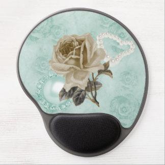 Mint Green Ivory Roses Pearls Heart Gel Mousepad