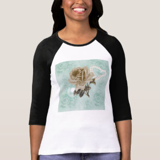Mint Green Ivory Roses Raglan T-Shirt