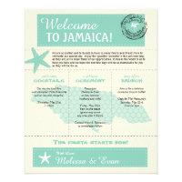 Mint Green Jamaica Wedding Welcome Letter Flyer