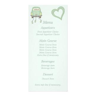 Mint Green Just Married Wedding Menu Rack Card