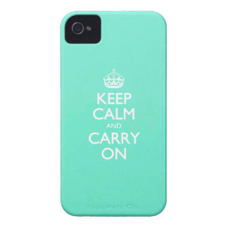 Mint Green Keep Calm And Carry On Pattern iPhone 4 Covers