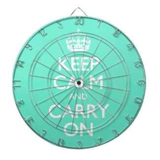 Mint Green Keep Calm And Carry On Pattern Dartboard With Darts