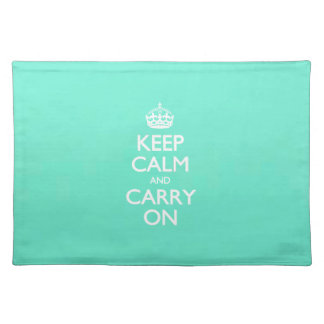 Mint Green Keep Calm And Carry On Pattern Placemats