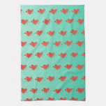 Mint Green Kitchen Towels with Cute Hearts