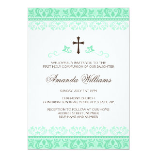 Mint green lace girls first communion confirmation card