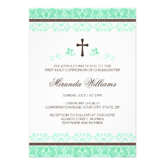Mint green lace girls first communion confirmation custom invite