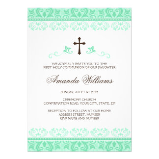 Mint green lace girls first communion confirmation personalized announcements