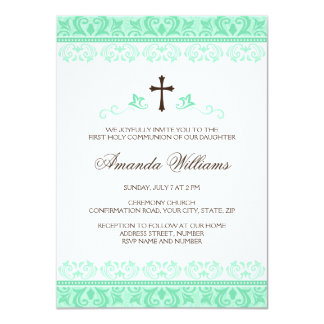Mint green lace girls first communion confirmation 4.5x6.25 paper invitation card