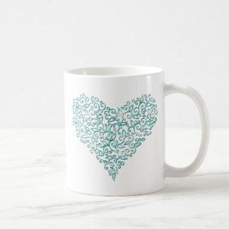 Mint Green Lace Heart Coffee Mug