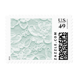 Mint Green Lace Postage Stamps