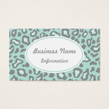Professional Business Mint Green Leopard Business Card