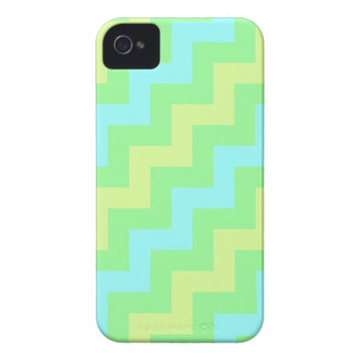 Mint Green, Light Blue and Yellow Diagonal Zigzags iPhone 4 Case