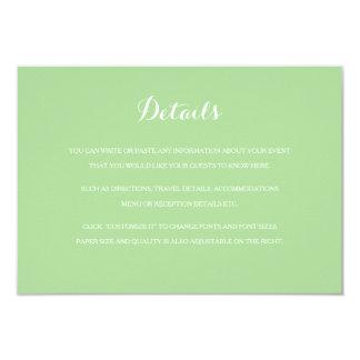 Mint Green Light Green Wedding Insert Details Card