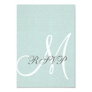 Mint Green Linen Rustic Wedding RSVP Card 3.5