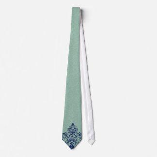 Mint-Green Linen Texture Blue Floral Lace Neck Tie