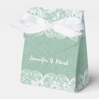 Mint Green Linen & White Lace Bridal Gift Box Party Favor Boxes