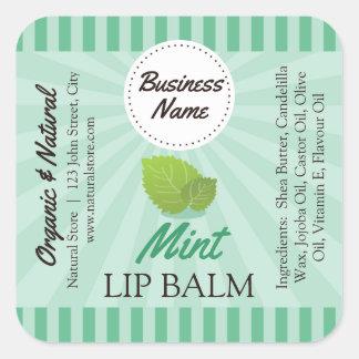 """Mint Green - Lip Balm Label - 1.25"""" Square"""