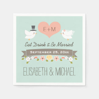 Mint Green Love Birds Dove Wedding Napkin