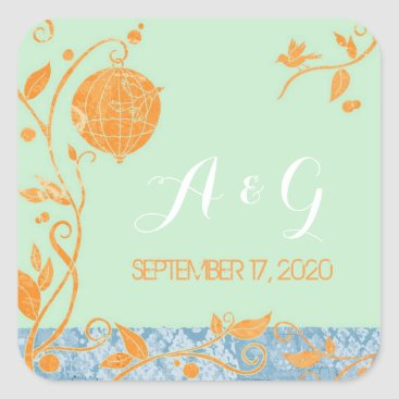 Professional Business Mint Green Love Birds Wedding Monograms Square Sticker