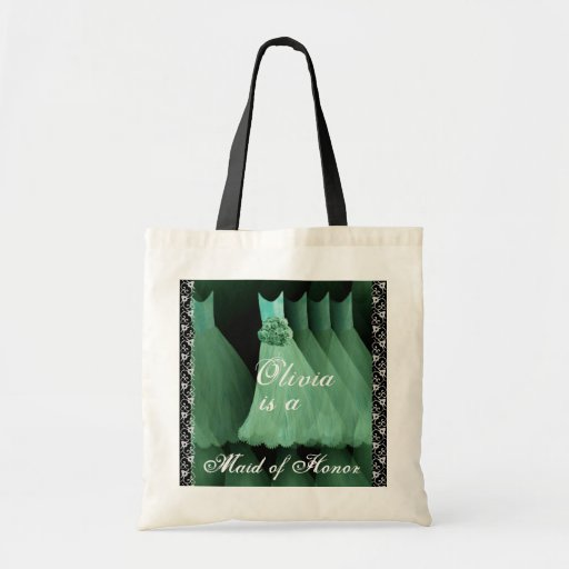 MINT GREEN Maid of Honor Cotton Tote Bag