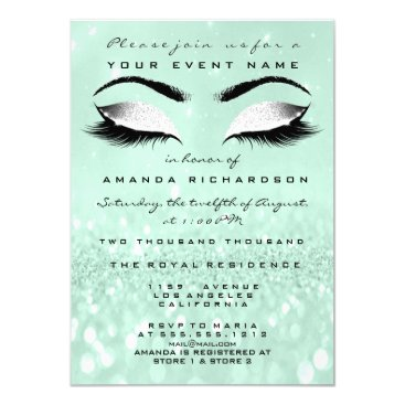 Bride Themed Mint Green Makeup White Glitter 16th Bridal Showe Card