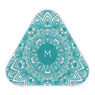Mint Green Mandala Monogram Customizable Color Bluetooth Speaker