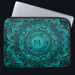"Mint Green Mandala Monogram Customizable Color Laptop Sleeve<br><div class=""desc"">Mint Green Mandala Monogram Customizable Color. A light aqua blue green mandala pattern over your choice of background color. We liked it best with black, white or an even lighter mint green, but you can pick any color you want. Mandalas are a favorite symmetrical artistic tradition in both the Indian...</div>"