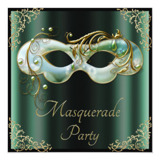 Mint Green Mask Chic Black Masquerade Party Card