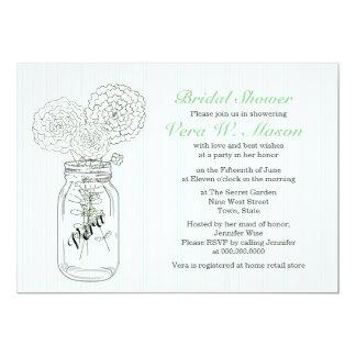 "Mint Green Mason Jar Vintage Bridal Shower Invites 5"" X 7"" Invitation Card"