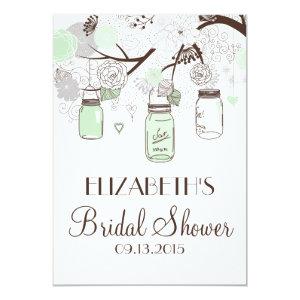 Mint Green Mason Jars Bridal Shower Invitations 5