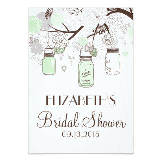 Mint Green Mason Jars Bridal Shower Invitations