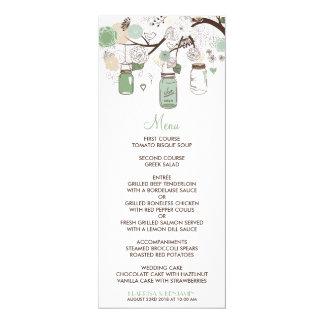 """Mint Green Mason Jars Wedding Menu Card 4"""" X 9.25"""" Invitation Card"""