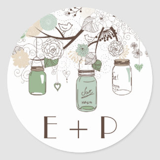 Mint Green Mason Jars Wedding Monogram Sticker Round Sticker