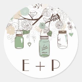 Mint Green Mason Jars Wedding Monogram Sticker