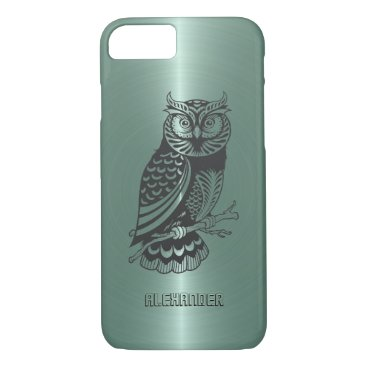 Halloween Themed Mint-Green Metallic Background With Black Owl iPhone 7 Case