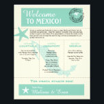 """Mint Green Mexico Wedding Welcome Letter Flyer<br><div class=""""desc"""">Have fun with your destination themed wedding. Palm Tree, Starfish and Map of Mexico in colors of Colors are Mint Green, Light Golden Yellow and White. Customize more text on the back if you need additional space. If the color scheme is not what you wanted please email paula@labellarue.com BEFORE YOU...</div>"""