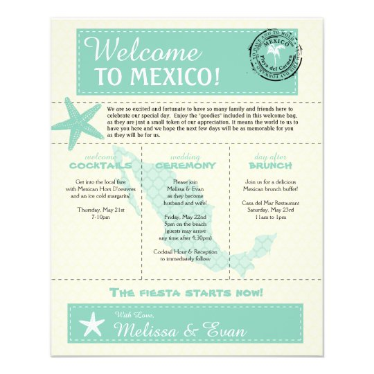 Mint Green Mexico Wedding Welcome Letter Flyer Zazzle Com