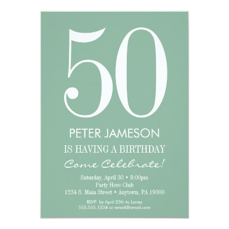 Mint Green Modern Adult Birthday Invitations