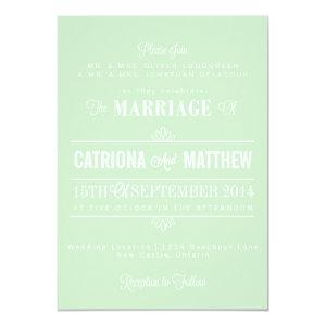 Mint Green Modern Floral Wedding Invitation 5