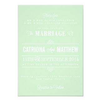 Mint Green Modern Floral Wedding Invitation