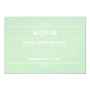 Mint Green Modern Floral Wedding Reception Card 3.5