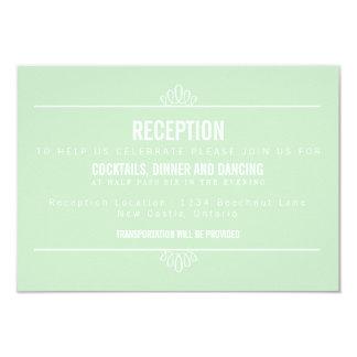 Mint Green Modern Floral Wedding Reception Card Custom Invitation