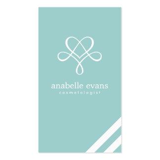Mint Green Modern Heart and Swirls Business Card Templates