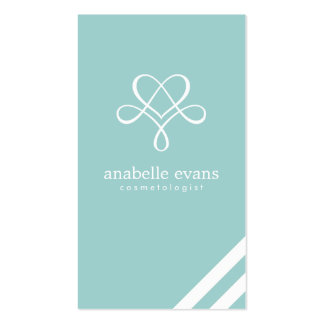 Mint Green Modern Heart and Swirls Double-Sided Standard Business Cards (Pack Of 100)