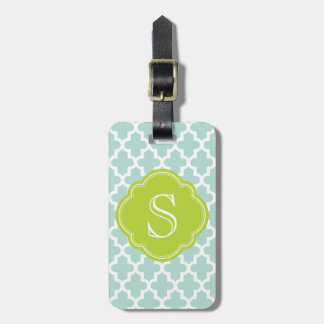 Mint & Green Modern Moroccan Custom Monogram Tag For Luggage