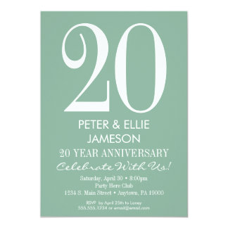 Mint Green Modern Simple Anniversary Invitations