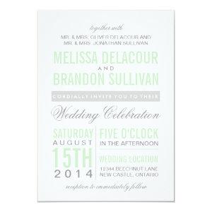 Mint Green Modern Typography Wedding Invitation 5