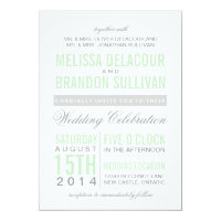Mint Green Modern Typography Wedding Invitation