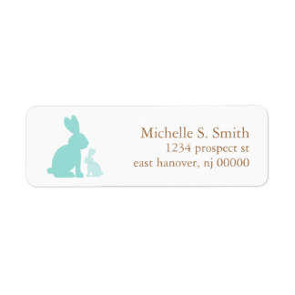 Mint Green Mom and Baby Rabbits Label
