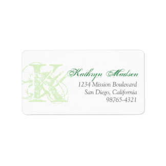 Mint green monogram distress grunge return address personalized address label